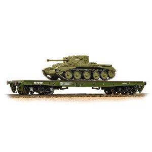 Bachmann 38-725 Warflat Bogie Flat Wagon WD Khaki Drab with Tank