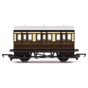 Hornby R4672 Four Wheel Coach GWR Chocolate and Cream RailRoad Range
