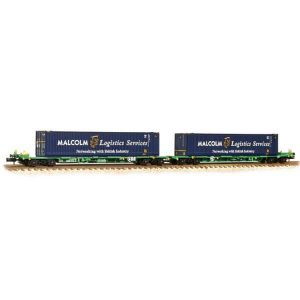 Graham Farish 377-353A Intermodal Bogie Wagon with Two 45ft Containers Malcolm Logistics