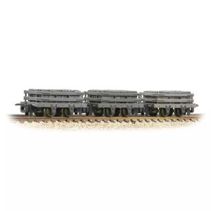 Bachmann 393-075 4 Wheel Slate Wagon Grey Triple Pack with Load Weathered