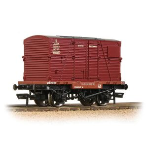 Bachmann 37-951E Conflat Wagon BR Bauxite Early with Crimson BD Container