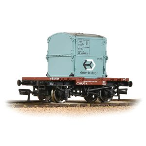Bachmann 37-978A Conflat Wagon BR Bauxite Early with BR Ice Blue AF Container