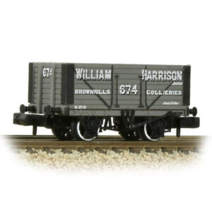 Graham Farish 377-209 8 Plank Wagon Fixed End William Harrison Grey