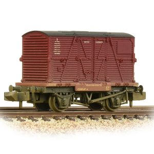 Graham Farish 377-328C Conflat Wagon BR Bauxite Early with Crimson BD Container Weathered