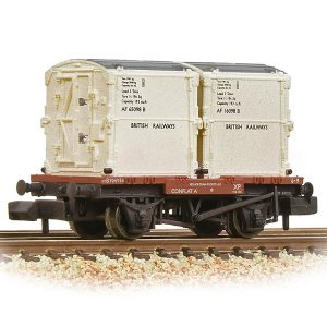 Graham Farish 377-340B Conflat Wagon BR Bauxite Early with 2 BR White AF Containers Weathered