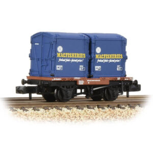 Graham Farish 377-342 Conflat Wagon BR Bauxite Early with 2 Mac Fisheries AF Containers