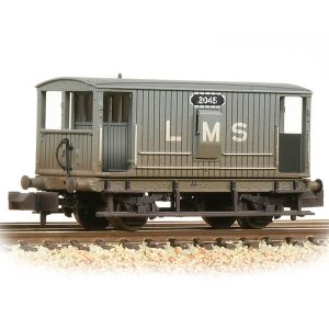 Graham Farish 377-750A 20T Midland Brake Van with Duckets LMS Grey Weathered