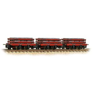 Bachmann 393-076 4 Wheel Slate Wagon Grey Triple Pack Red with Load Weathered