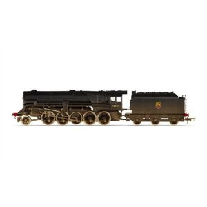 Hornby R3756 Class 9F Crosti Boiler 92028 BR Black with Early Crest Weathered RailRoad Range