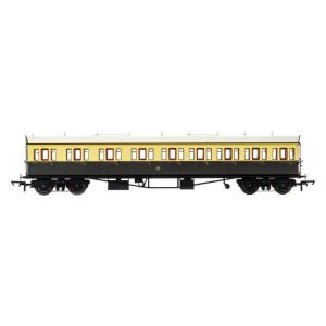 Hornby R4874 Collett 57′ Bow Ended E131 9 Compartment Composite (LH) GWR Chocolate and Cream