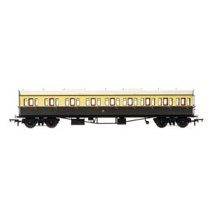 Hornby R4874A Collett 57′ Bow Ended E131 9 Compartment Composite (LH) GWR Chocolate and Cream