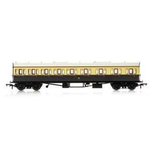 Hornby R4875 Collett 57′ Bow Ended E131 9 Compartment Composite (RH) GWR Chocolate and Cream