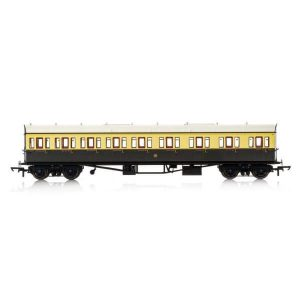 Hornby R4875A Collett 57′ Bow Ended E131 9 Compartment Composite (RH) GWR Chocolate and Cream