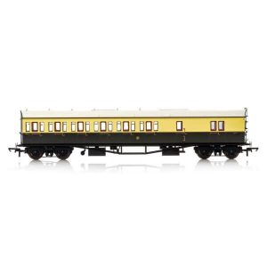 Hornby R4876 Collett 57′ Bow Ended D98 6 Compartment Brake Third (LH) GWR Chocolate and Cream