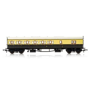Hornby R4876A Collett 57′ Bow Ended D98 6 Compartment Brake Third (LH) GWR Chocolate and Cream