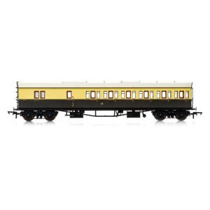 Hornby R4877 Collett 57′ Bow Ended D98 6 Compartment Brake Third (RH) GWR Chocolate and Cream