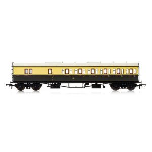 Hornby R4877A Collett 57′ Bow Ended D98 6 Compartment Brake Third (RH) GWR Chocolate and Cream