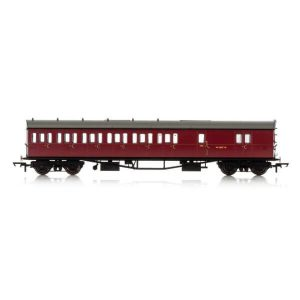 Hornby R4880 Collett 57′ Bow Ended D98 6 Compartment Brake Third (LH) BR Maroon