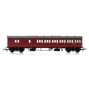 Hornby R4881 Collett 57′ Bow Ended D98 6 Compartment Brake Third (RH) BR Maroon