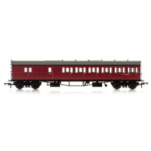 Hornby R4881A Collett 57′ Bow Ended D98 6 Compartment Brake Third (RH) BR Maroon