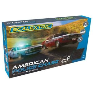 Scalextric C1405 American Police Chase (AMC Javelin Police Car vs Dodge Challenger)