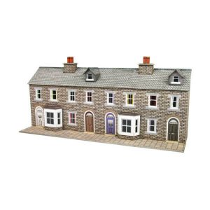 Metcalfe Models PN175 N Gauge Low Relief Stone Terraced House Fronts
