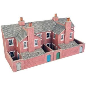 Metcalfe Models PO276 OO/HO Scale Low Relief Red Brick Terraced House Backs