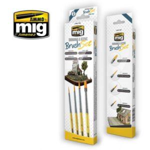 Mig Brushes MIG7601 Dioramas & Scenic Brush Set