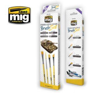 Mig Brushes MIG7604 Streaking & Vertical Surfaces Brush Set
