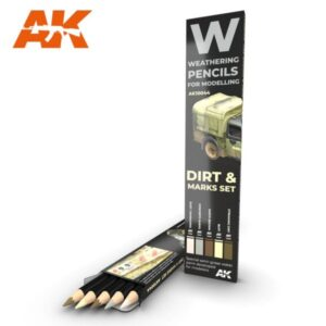 AK Interactive AK10044 Weathering Pencils Dirt: Marks Set