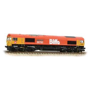 Graham Farish 371-399 Class 66/7 66783 'The Flying Dustman' GBRF Biffa Red