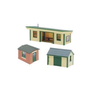 PECO NB-16 Station Platform Shelter with Brick & Timber Huts