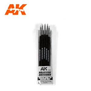 AK Interactive AK9086 Silicone Brushes Medium Hard Tip Medium Size (pack of 5)
